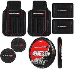 7pc Dodge Heavy Duty Front & Rear Floor Mats with steering wheel cover & coasters