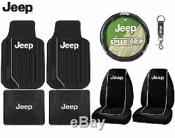 8 Pc Jeep Wrangler Interior Seat Covers F/R Floor Mats & Steering Wheel Cover