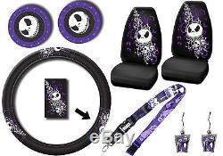 8pc Nightmare Before Christmas Bones Steering Wheel Cover withCup Holder Coasters