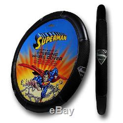 8pc Superman Car Seat Covers Floor Mats and Steering Wheel Cover Set + Gift