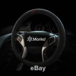 ALCANTARA 100% Italy Original Fabric Car Steering Wheel Cover Free Size Moriko