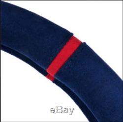 Alcantara Suede Steering Wheel Cover For All Vehicle Blue 37mm(14.56 inch)