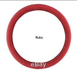 Alcantara Suede Steering Wheel Cover For All Vehicle Ruby Red 37mm(14.56 inch)