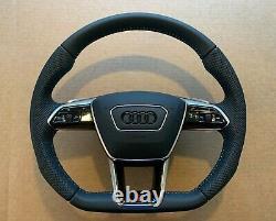 Audi A6 A7 A8 Q8 E-tron 4K 4N 4M OEM S-line Steering Wheel Paddles Black Logo