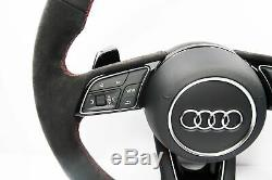 Audi Rs4-line A4 S4 Half Alcantara Flat Bottom Steering Wheel