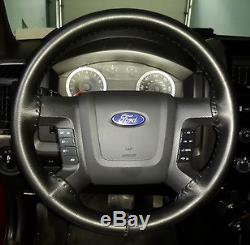 BLACK Genuine Leather Steering Wheel Cover for Ford Wheelskins Size AXX
