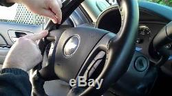 BLACK Genuine Leather Steering Wheel Cover for Wheelskins Size C