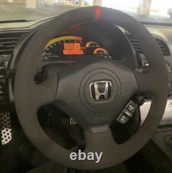 BLACK v2 Honda S2000 Civic Si Acura RSX Type-S Steering Wheel Wrap Suede