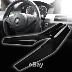 BMW 5-Series E60 Sedan M5 Model Real Carbon Steering Wheel Cover Trim 2 Piece