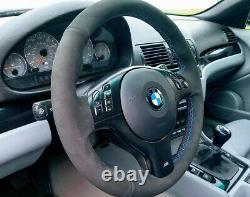 BMW E46 M3 E39 M5 Black Alcantara suede Steering Wheel Cover kit M stitching