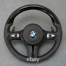 BMW F10 F06 F12 F30 F32 F36 Piano Black Wood & Leather Steering Wheel Complete