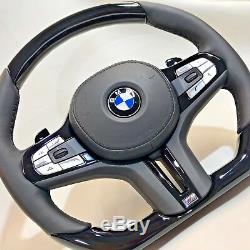 BMW G11 G12 G30 G01 G02 G05 Piano Black Wood & Leather Steering Wheel Complete