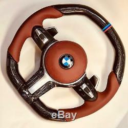 BMW G11 G12 G30 G32 G01 G02 G05 Carbon Fiber & Leather Steering Wheel Tan New