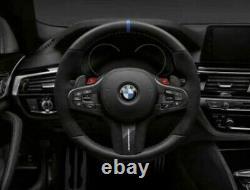 BMW OEM F90 M5 M Performance Alcantara & Carbon Fiber Steering Wheel Blue Stripe