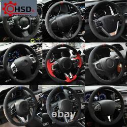 Black Alcantara Custom Steering Wheel Cover For Alfa Romeo Giulia Stelvio 2017 +