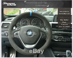 Black Alcantara Steering Wheel Cover for BMW 316i 320i 328i 320d F20 F45 F30 F31