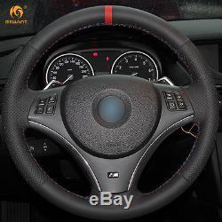 Black Leather Red Marker Steering Wheel Cover for BMW E90 325i 330i 335i E87