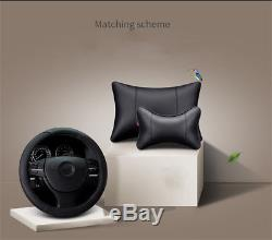 Black PU Leather Linen Full Car Seat Steering Wheel Cover 5 Seats Cushion Pillow
