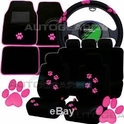 Black Pink Paw Print Car Seat Covers. Set of 4 Car Mats. Car Steering Wheel Cover