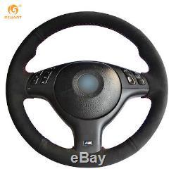 Black Suede Steering Wheel Cover for BMW E46 E39 330i 540i 525i 530i 330Ci M3