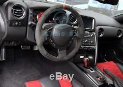 Blue Carbon Fiber Interior Steering Wheel Cover Trim Fit For Nissan GTR GT-R R35