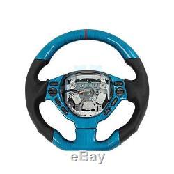 Blue Carbon Fiber Steering Wheel Cover Trim For Nissan GTR R35