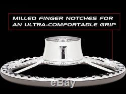 Blvd 04 15.5'' Polished Billet Specialties Steering Wheel Kit Black Wrap
