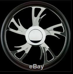 Blvd 75 15.5'' Polished Billet Specialties Steering Wheel Kit Black Wrap