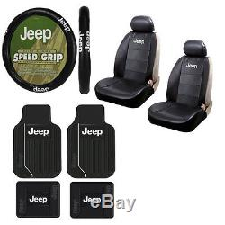 Brand New 9pc Jeep Elite Rubber Floormats Seat Covers and Steering Wheel Cover