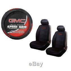 Brand New GMC Elite Red Logo Universal Fit Seat Covers and Steering Wheel Cover