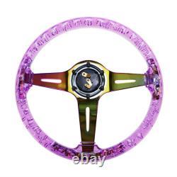 Car Acrylic Steering Wheel Bluing Spokes 350mm 14inch Racing Purple