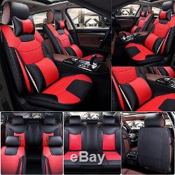 Car Seat Cover 5 Seats+Steering Wheel Cover Microfiber Leather Black&Red Size L