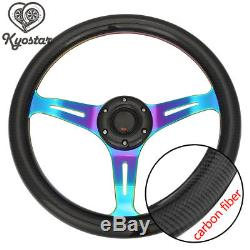 Carbon Fiber 14 350mm Steering Wheel Cover Deep Dish 6 Hole Neochrome Spoke