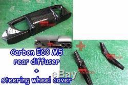 Carbon Fiber BMW 0610 E60 M5 Sedan DTO rear diffuser + steering wheel cover