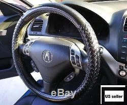 Carbon Fiber Black Steering Wheel Cover Synthetic Leather Intrecciato Weave BMW