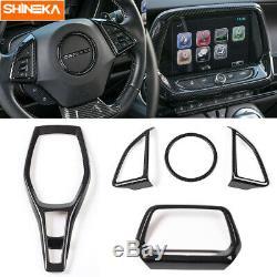 Carbon Fiber GPS Navigation+Steering Wheel Cover Trim For Chevrolet Camaro 2017+