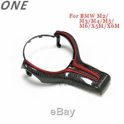 Carbon Fiber Steering Wheel Cover+Red Inner Trim for BMW M2 M3 M4 M5 M6 X5M X6M
