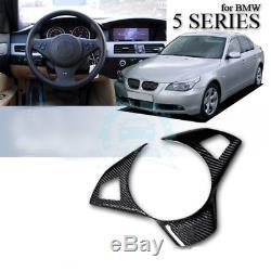 Carbon Fiber Steering Wheel Cover Trim Interior For BMW 5 Series E60 E61 2001-07