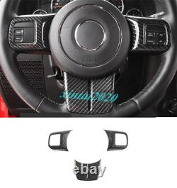Carbon Fiber Steering Wheel Decor Cover Trim For Jeep Grand Cherokee 2011-2013