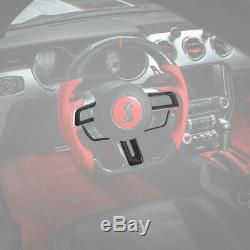 Carbon Fiber Steering Wheel Decor Cover Trim Kit Fit Ford Mustang 2015 2016 2017
