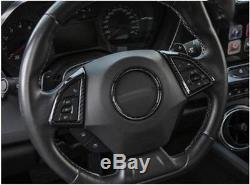 Carbon Fiber Style Interior Steering wheel cover trim for Chevrolet Camaro 16-17