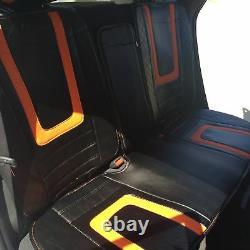 Carbon & Orange PVC Leather Car Seat Covers Steering Wheel Shift Knob Headrest