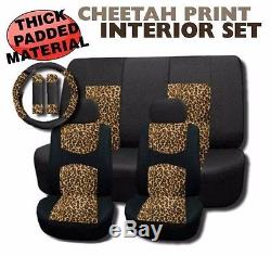 Cheetah Mesh Seat Cover Set 11pc Steering Wheel Cover SUPERIOR FABRIC Brown Tan
