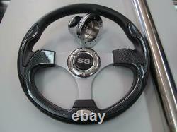 Club Car DS Golf Cart Carbon Fiber Steering Wheel / Adapter / SS Cover #100DSSS