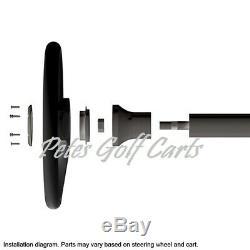 Club Car Onward Black Carbon Fiber Steering Wheel/Hub Adapter/Chrome Cover Kit
