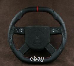 Custom steering wheel Flat bottom Square Top Thick HEMI Srt8 RT8 Alcantara