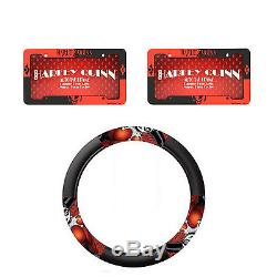 DC Comics Harley Quinn Steering Wheel cover & Two License Plate Frame 3PC Combo