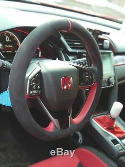 D cut Alcantara Steering Wheel Cover for HONDA Civic Type R