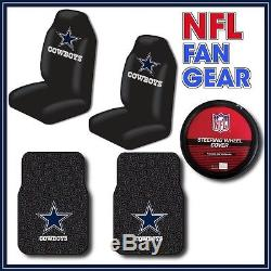 Dallas Cowboys 5pc Auto Set Seat Covers Rubber Floor Mats Steering Wheel Cover