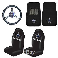 Dallas Cowboys Seat Covers-Carpet Floor Mats & Steering Wheel Cover 5PC Combo